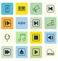 set of 16 audio icons includes skip song extract vector image