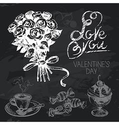 Valentines Day hand drawn chalkboard design set vector image