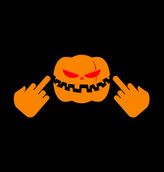angry pumpkin halloween shows to aggressive vector image vector image