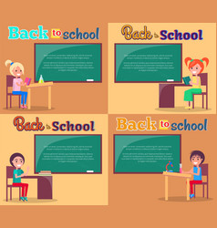 back to school posters set smiling boys and girls vector image