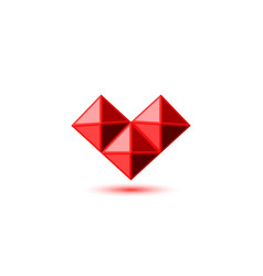 crystal red ruby heart logo in gemstone faceted vector image
