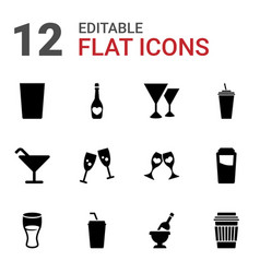 12 champagne icons vector