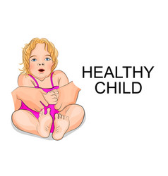 A healthy baby - girl in pink dress vector