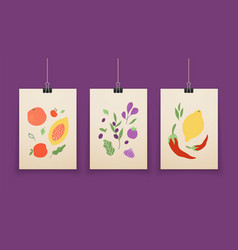 abstract food posters fruit shapes pastel colors vector image