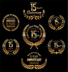 Anniversary golden laurel wreath 15 years vector