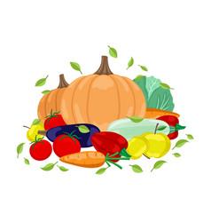 Autumn harvest vegetables vector