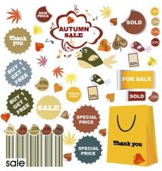 autumn stickers vector image