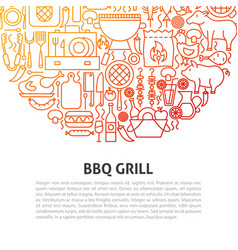 Bbq grill line concept vector