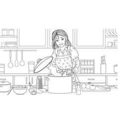 beautiful girl prepares lunch vector image