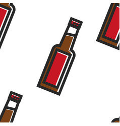 beer bottle seamless pattern english alcohol drink vector image