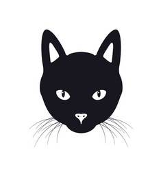 Black cat face isolated vector