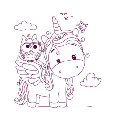 black line unicorn for coloring book or page cute vector image