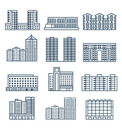 Block city apartment house buildings in lineart vector