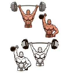 Bodybuilder lifting weights vector