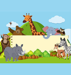 Border template with wild animals in the field vector