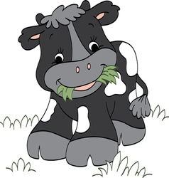Calf chewing Grass vector