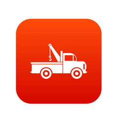 Car towing truck icon digital red vector