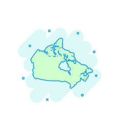 cartoon colored canada map icon in comic style vector image