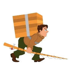 Cartoon man with fishing rod and carrying heavy vector