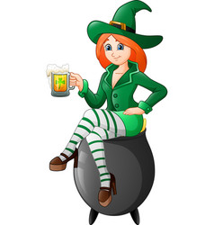 cartoon woman leprechaun sitting on the pot with h vector image
