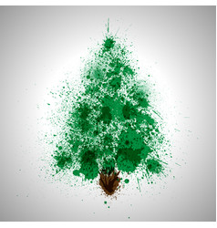 Christmas tree made by spilled paint splashes vector