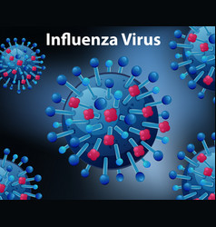 close up diagram for influenza virus vector image