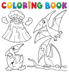 Coloring book pterodactyls theme set 1 vector