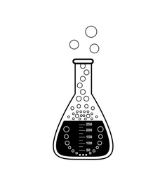 Conical graduated chemical flask with a solution vector image