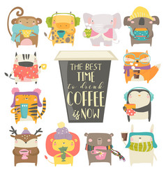 Cute animals in sweater and scarf drinking coffee vector