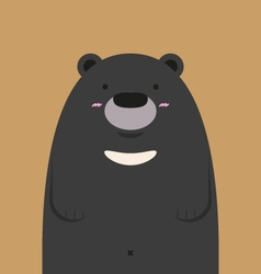 Cute big asian black bear vector