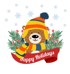 cute christmas card with tree braches and funny vector image