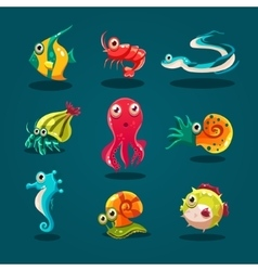 Cute Sea Life Creatures Cartoon Animals Set vector