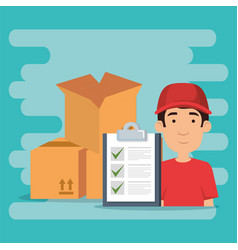 Delivery worker with checklist character vector
