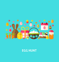 egg hunt greeting card vector image