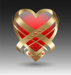 Elegant metallic heart emblem with embellishment vector