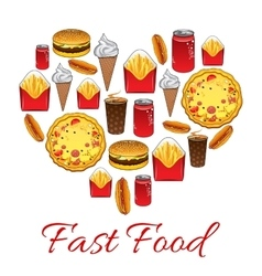 Fast food snacks poster vector image