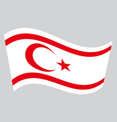 flag of northern cyprus waving on gray background vector image