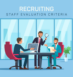 Flat banner recruiting staff evaluation criteria vector