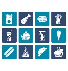 Flat fast food and drink icons vector