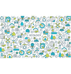 flat line design ecology banner vector image