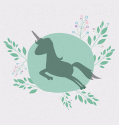 floral background with silhouette of unicorn vector image