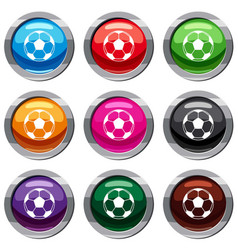 football or soccer ball set 9 collection vector image