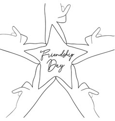 Friendship day friend group hands star shape card vector