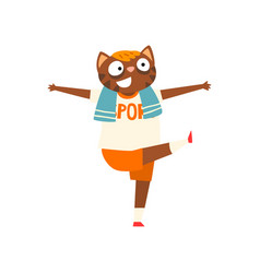 funny cat doing morning exercises humanized vector image