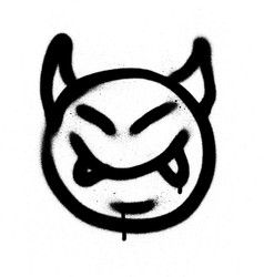 Graffiti sprayed devil emoticon in black on white vector