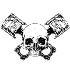 graphic human skull with crossed car piston vector image