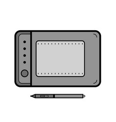 Graphics tablet with a stylus drawing tool for vector