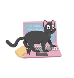 gray cat and a pink laptop with a screen of death vector image
