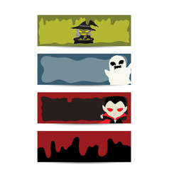 halloween blood character banner set vector image