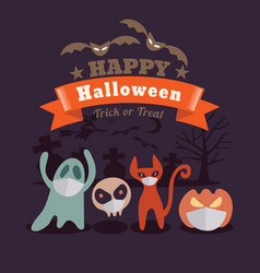 Halloween cartoon characters wearing face mask vector